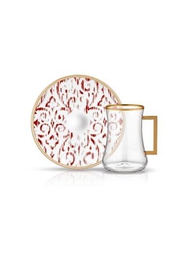 Koleksiyon Dervish Kulplu Çay Seti 6'lı Nomad Bordo Renkli